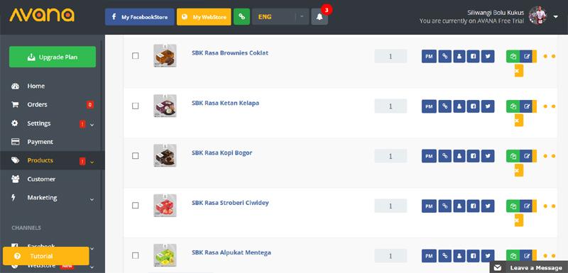 Avana Facebook Store